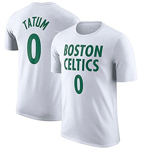 LGLE Camisetas de Baloncesto para Hombres y Mujeres, Jayson Boston # 0, Ropa Deportiva de Secado Rápido para Hombres, Manga Corta Informal de Verano al Aire Libre,White,L
