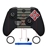 eXtremeRate Classic NES Style Faceplate Cover, Soft Touch Front Housing Shell Case Replacement Kit for Xbox One Elite Series 2 Controller Model 1797 - Thumbstick Accent Rings Included