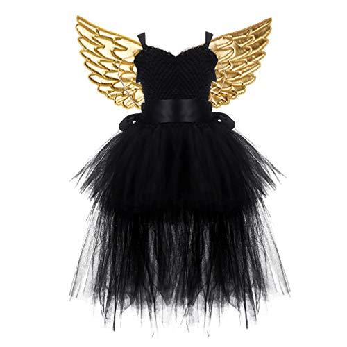 Amosfun vestido de tutú negro para niños conjunto falda de tutú de malla de hadas con ala dorada para fiesta de cosplay de halloween