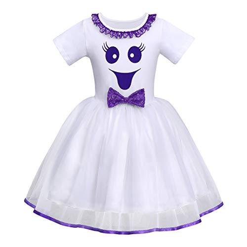 FYMNSI Déguisement d'Halloween pour bébé fille et enfant Fantôme citrouille A-ligne Tulle Princesse Carnaval Party Cosplay Déguisement pour 6 mois à 6 ans - Blanc - 4 ans