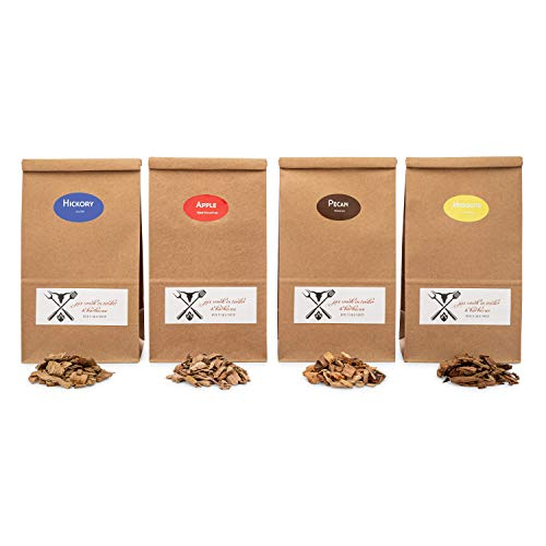 Jax Smok'in Tinder Premiun BBQ Wood Chips for Smokers Variety Pack - Our Most Popular Medium Sized Smoker Chips - Apple, Post Oak, Orange and Pecan Packed in 2.90 Liter Paper Bags