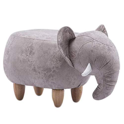 Zapateros Tapizado otomana Stool, pequeño asiento, taburete con Animales de la historieta, Banco de calzado, Bench for los sofás, elefante Reposapiés, 4 patas de madera, 66 * 34 * 39 cm ( Color : E )