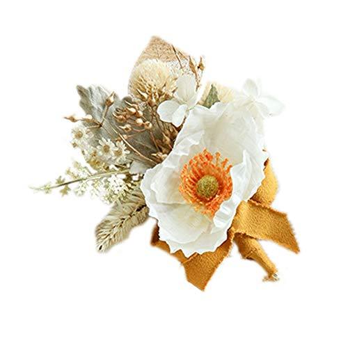 MYW Partij van de Bal handgemaakte corsage broche Bouquet Kunstmatige Wedding Flower Pols Bloemen (Color : Yellow, Size : Corsage)