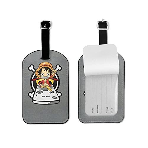 Monkey D. Lu-ffy - Etiquetas para equipaje de piel premium con correa de protección