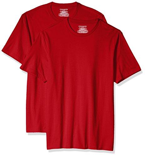 Amazon Essentials 2-Pack Slim-Fit Short-Sleeve Crewneck T-Shirt Fashion-t-Shirts, Rojo, US (EU XS)