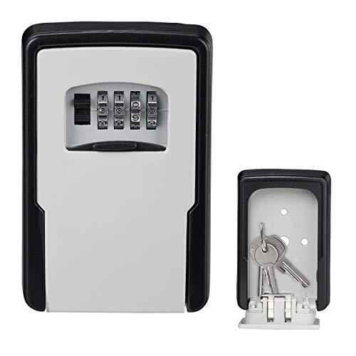 Relaxdays Schlüsseltresor, 4-stelliger Zahlencode, Wandmontage, Außen, Schlüsselsafe HBT 13 x 8,5 x 4 cm, schwarz/silber