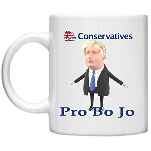 Pro Boris Johnson Tasse, konservative Party-Becher, Politische Geschenke, Bo Jo Tasse, Glasto Geschenke, Labour Party, Konservative Party, Mikrowellen-Spülmaschinenfest, 325 ml