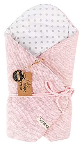 SweetDreams Baby Einschlagdecke, Schlafsack, Wickeldecke für Neugeborene und Kleinkinder, Baumwolle 0-12 Monate, super weich, 75 x 75 cm (1024) (-Rosa/Dots)