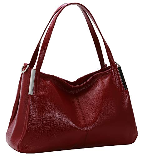 Heshe Women's Genuine Leather Handbags Top Handle Totes Bags Shoulder Handbag Satchel Designer Purse Cross Body Bag for Lady (Wine)