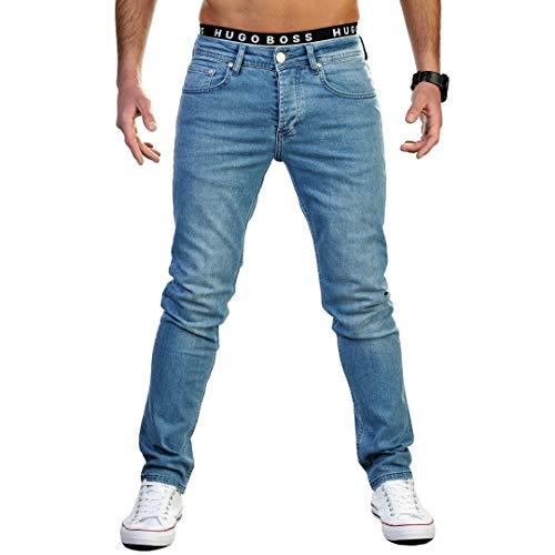 Gelverie Jeans Herren Slim Fit Jeanshose Stretch Designer Hose Denim I Light Blue Denim, W40 / L30
