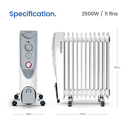 Pro Breeze® 2500W Oil Filled Radiator, 11 Fin - Portable Electric Heater - Built-in Timer, 3 Heat Settings, Adjustable Thermostat, Safety Cut-Off & 24 Hour Timer
