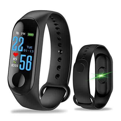 Fitness Armband mit Pulsmesser - M3 Wasserdicht IP67 Smart Fitness Tracker Uhr Farbbildschirm mit GPS Hochpräzise Herzfrequenz-Blutdruckmessgerät (schwarz)