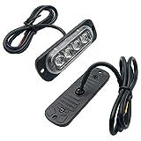 Riloer 2 Luces Estroboscópicas de 4 LED, Luz de Peligro de Advertencia de Emergencia, 12 V / 24 V, para Camiones Tractores Carretilla Elevadora