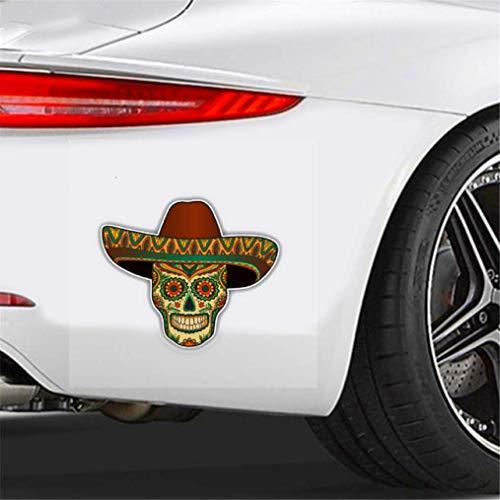 Auto Aufkleber Persönlichkeit Auto Aufkleber Mexikanischer Zuckerschädel Auto Styling PVC Aufkleber Abdeckung Kratzer für Lada Kalina Türkisch, 14cm * 11cm