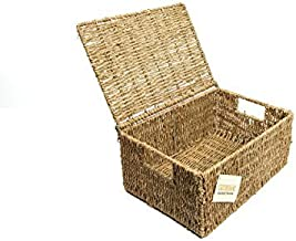 woodluv SEAGRASS STORAGE BASKET BOX WITH LID LARGE(E01-100L)