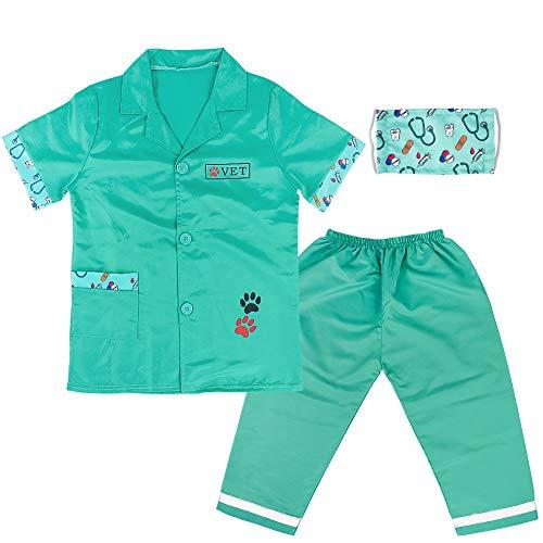 TONZE Juguetes Medicos Niños Enfermera Medico Verde Veterinario Juego de rol para Niñas Niños 3 4 5 6 Años (3Piezas)