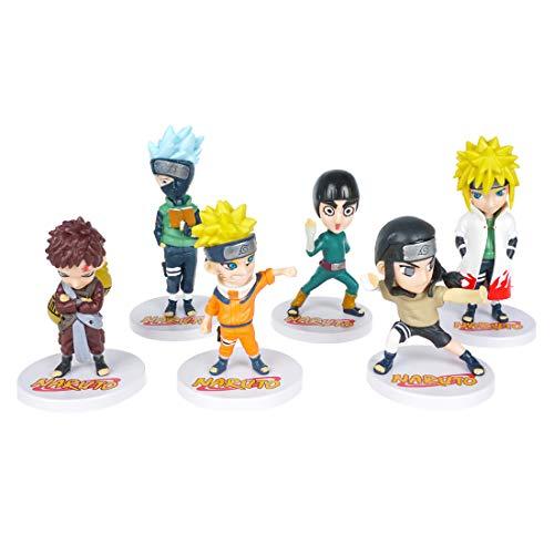 CoolChange Naruto Mini Figuren Set aus PVC, 6 Figuren mit Naruto Uzumaki, Kakashi Hatake, Minato Namikaze, Gaara, Neji Hyuuga & Rock Lee