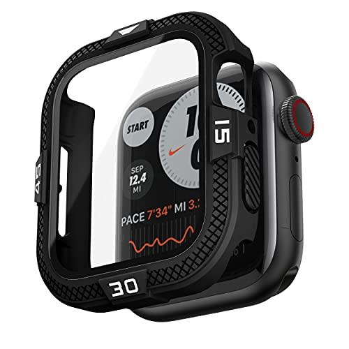 T-ENGINE Funda compatible con Apple Watch 44 mm SE Series 6 5 4, 360 ° protectora completa protector de pantalla vidrio templado resistente ultradelgado para mm, color negro (número blanco)