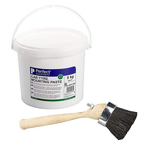 Pasta de montaje y brocha Perfect Equipment, Juego de pasta de montaje de neumáticos, Pasta de montaje de neumáticos 5 kg blanca