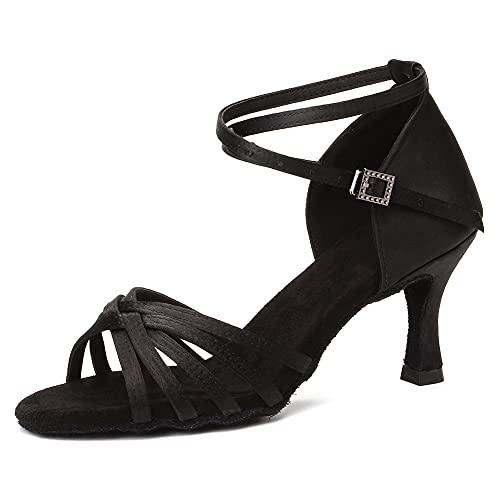 HIPPOSEUS Chaussures De Danse Latine pour Femmes Satin Dames Salle De Bal Salsa Chaussures De Danse Noir,EU 37.5