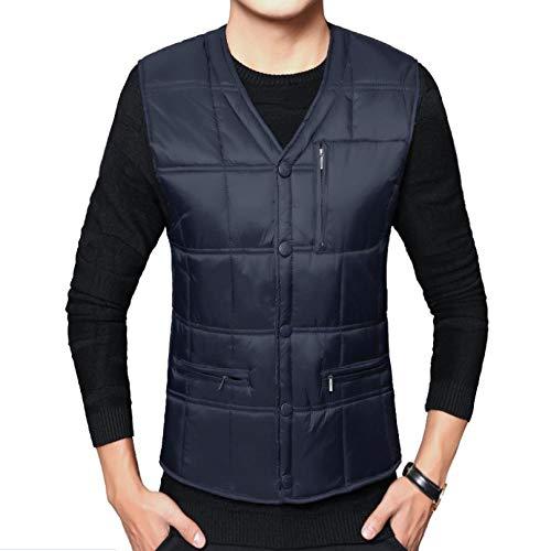 Gilet d'hiver pour Hommes Grande Taille Gilet épais Veste sans Manches Chaude Gilet Body Warmer-Blue_XXXL