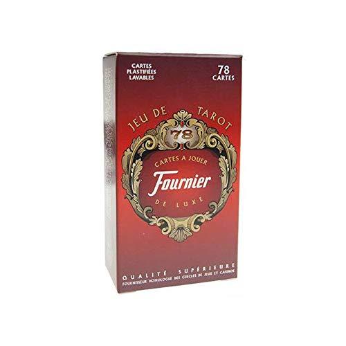 Fournier - Tarot : 78 cartes à jouer Luxe plastifiées Lavables - Dos Rouge