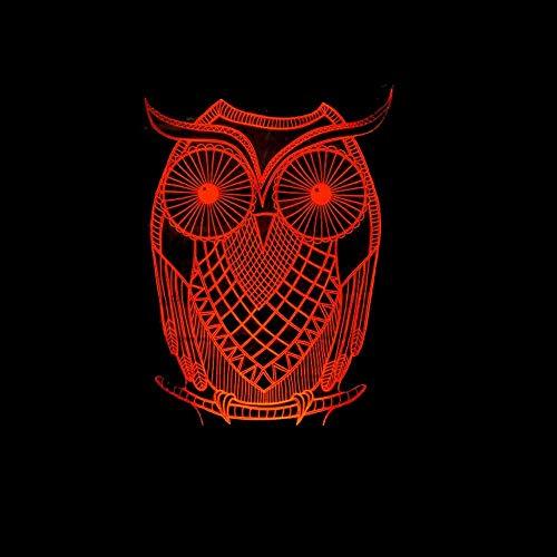 Lievevt Lámpara Escritorio Owl LED Light Color Gradient 3D Stereo Touch Remote USB Night Light mesita de Noche Decorada con imaginación Regalo de Cumplea?os 20 * 13cm