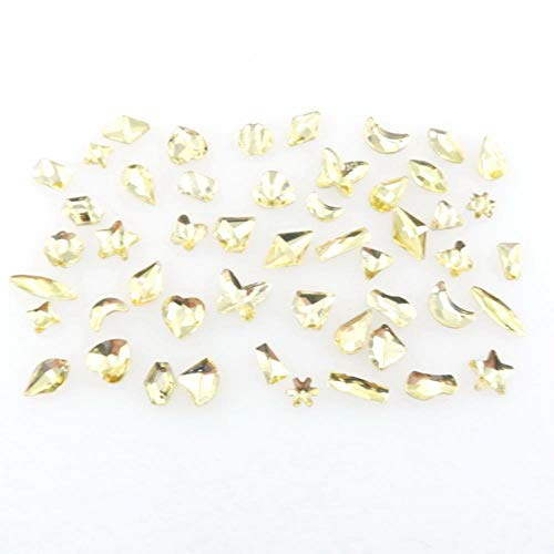 Jolies formes Mélange de 50 pièces/sac Jonquil Couleur à dos plat en verre et strass pour nail art, artisanat, décoration artisanale, Jonquil., 50Pcs