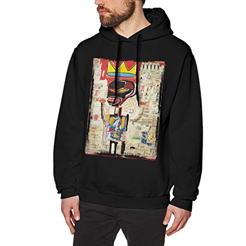 Jean Michel Basquiat Men's Hoodies Sweater Fashion Long Sleeve Top No Pocket Hooded Sweatshirts S Black