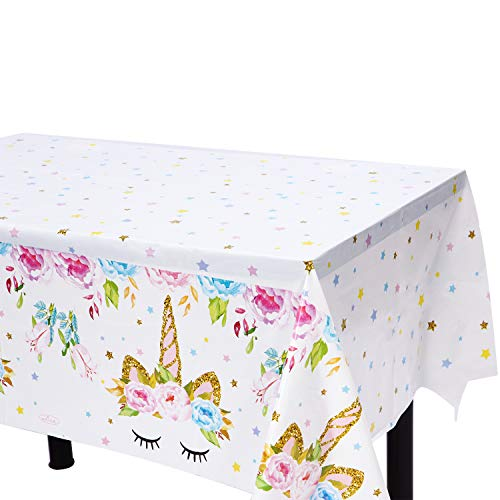"""Unicorn Plastic Tablecloth - 4 Pack - Bigger Size - 51"""" x 86"""" Disposable Table Cover - Unicorn Themed Birthday Party Supplies for Girls, Boys & Baby Shower"""