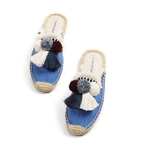 LLSPHYDY Zapatillas Mujer Zapatillas Peludas Mujer Caucho Cáñamo Borla Esponjosa Bola Zapatos De Lona