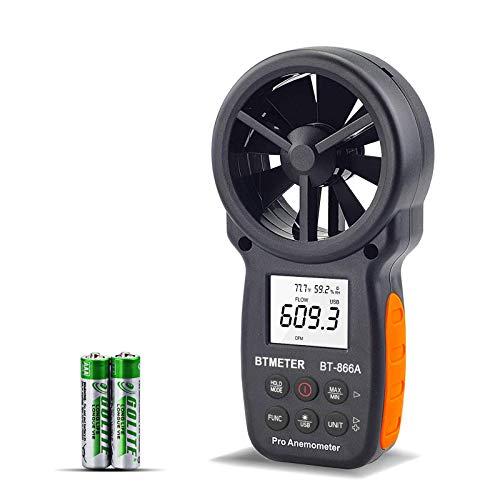 Anemometro Digitale CFM Portatile con Connessione USB, Misuratore di Volume D'aria LCD con Retroilluminazione di Flusso Anemometro Digitale con Pulsante Multifunzione per la Pesca con l'aquilone