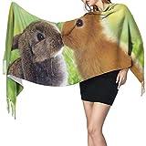 Bufanda de cachemira impresa con amor de conejo,Bufandas suaves y cálidas del mantón de las borlas, 77 pulgadas x 27 pulgadas