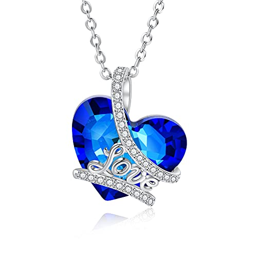 CusGifta Amor Collar con colgante de corazón azul de cristal de corazón del mar, chapado en plata, regalo de joyería para cumpleaños, día de San Valentín, aniversario, día de la madre - Estilo 1