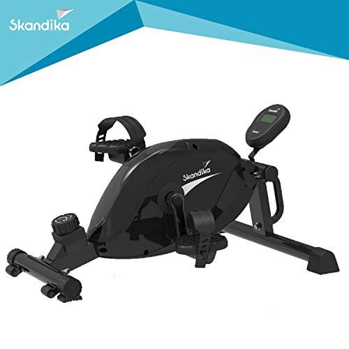 skandika Liten Beintrainer Mini-Bike mit LCD Trainingscomputer, 8 Widerstandsstufen, Arm & Brust Trainer, Mini Heimtrainer, für zu Hause, Büro und Schreibtisch, 110kg Benutzergewicht (schwarz)