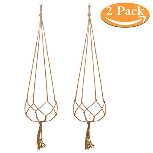 48 Inches Plant Hanger Flower Pot Hanger Plant Sisal Fiber Rope Plant Holder for Indoor Outdoor Decorations,Strong tensile,Large Size Include Ring, 4 Legs (2 Pack)