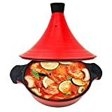 WINSDOM Nonstick Aluminum Cast Tagine Cooking Pot with Casting Lid, Moroccan Braiser Tajine Pot, Dishwasher safe,11 Inches, Induction Bottom, Warm Red