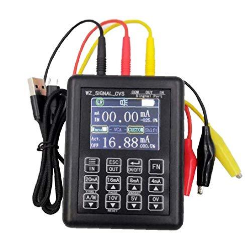 GPWDSN Odoukey 4-20ma Generador de señal Calibrador de señal de Control de Proceso Transmisor de Voltaje de Corriente de 24 V 0-10 V para Prueba de diodo de capacitancia de Resistencia Negro