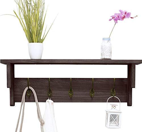 KIWIBEAVERPINK's Garderobenleiste aus Holz mit Hakenleiste - Garderobe Holz - Jackenhalter Wandgarderobe - Regal für die Wand - Garderobenhaken Vintage