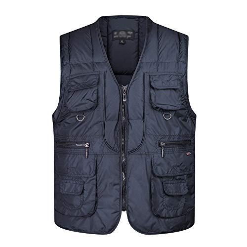 KINDOYO Homme Multi-Poches Gilet - Hommes Casual Autumn Thick Veste, Navy Bleu, EU L=Tag XL