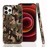 Cujas iPhone 12/12 Pro kompatible Hülle - Weiche Camouflage Silikon Schutzhülle Blickdicht mit IMD-Technologie Camo Militär Muster Hülle Schutz Handyhülle (iPhone 12/12 Pro Grün)