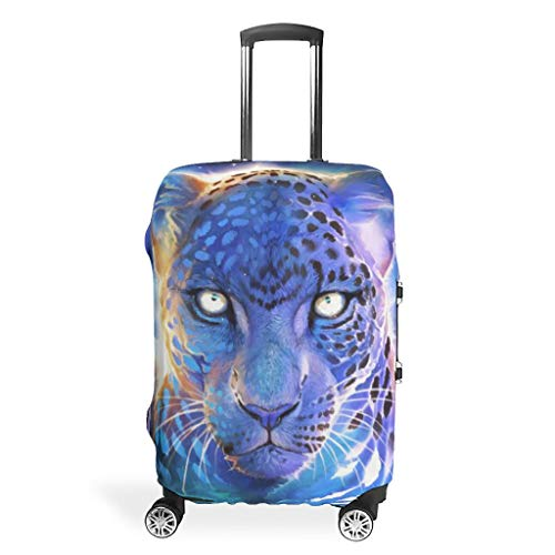Travel Leopard Animal Blue Luggage Covers - Easy to Identify Multi Size fit Lots of Suitcase White 19-21in