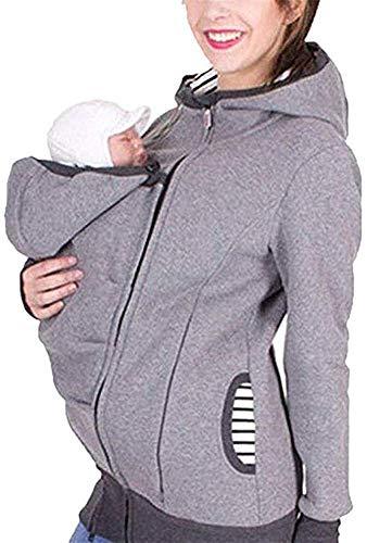 MY0629 Tragejacke für Mama und Baby 3 in 1 Damen Langarm Kapuze Känguru Umstandsjacke Warm Tragepullover mit Babyeinsatz