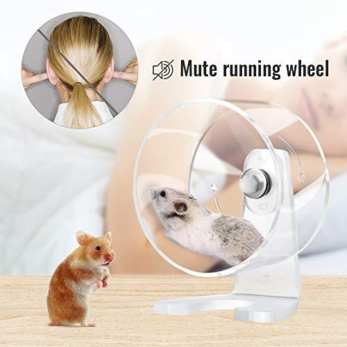 Furpaw Hamster Laufrad, Hamsterrad Leise Acryl Transparent Sport Wheel, Laufräder für Kleintiere Rennmaus Ratte