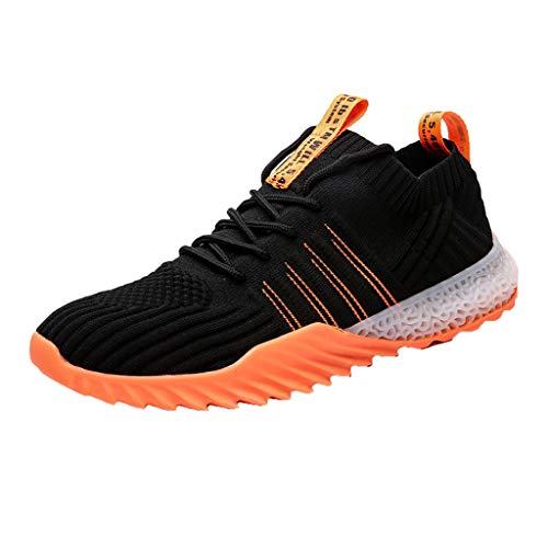 Men's Lightweight Mesh Running Shoes Breathable Tennis Gym Walking Shoes Casual Comfort Sneakers with Soft Sole (Orange, 7 M US)