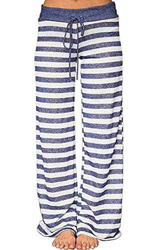 AMiERY Women's Pajamas Bottoms Lounge Pants Womens Cotton Comfy Striped Casual Palazzo Sleepwear Pajama Pants (XXL, Blue Striped)