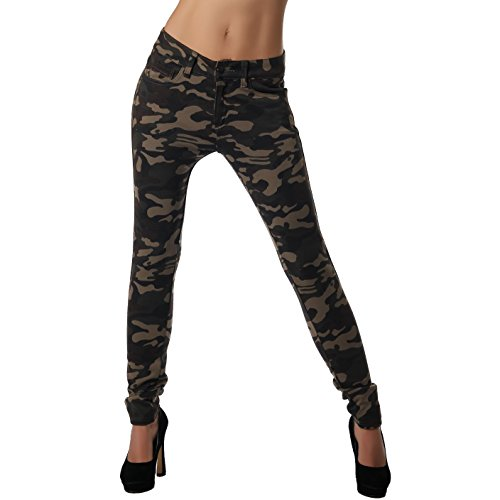 Crazy Age Camouflage Jeggings Leggings Damenhose Army Look Tarnhose elastisch (34)