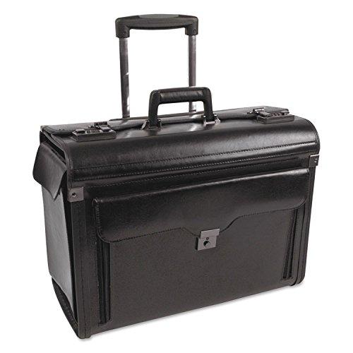 Bond Street, Ltd. 546110BLK Rolling Computer/Catalog Case, Leather, 19 x 9 x 15-1/2 Inches, Black