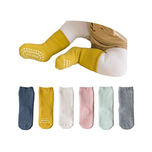 VWU Thick Cotton Socks with Grips Crew,Baby Toddler Kids Winter Warm Socks with Terry 0-4T (6pcs Solod Color, 3-4T)