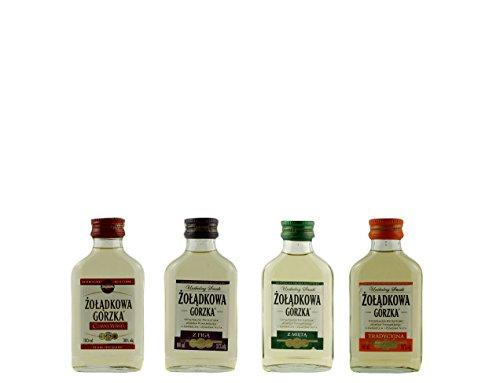 Geschenkset 4 Żołądkowa Gorzka Sweet Minis in der Probiergröße | Polnischer Wodka | je 0,1 Liter